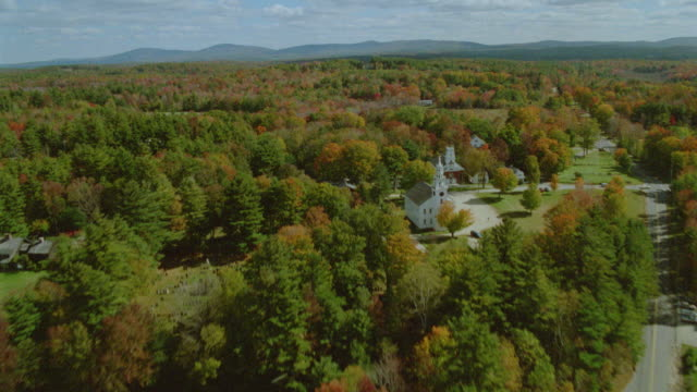 AERIAL New England town in Autumn