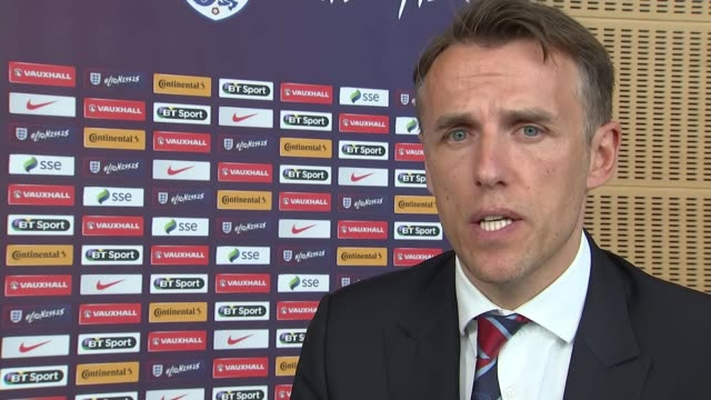 New England Women's coach Phil Neville holds first news confence Phil Neville interview SOT no way me making fun of domestic violence which is a...