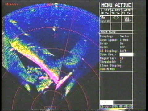 'DERBYSHIRE' New evidence INT CMS Sonar screen showing image of stern CMS Ditto MS Rudder TMS Damaged decaying stern PAN TMS Pipe ends ONSCREEN...