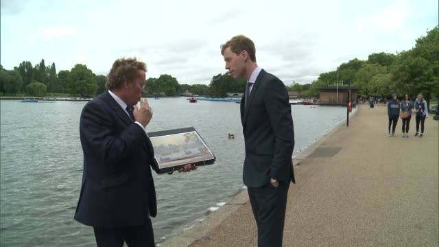 new exhibition tracing history of london's royal parks daniel hearsum interview sot pedalo along on serpentine lake image of reenactment placed in... - durchpausen stock-videos und b-roll-filmmaterial