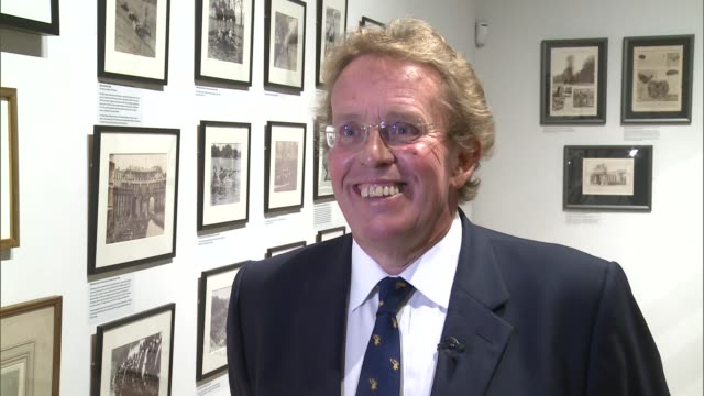 new exhibition tracing history of london's royal parks int daniel hearsum interview sot hearsum along with itn reporter inside gallery - durchpausen stock-videos und b-roll-filmmaterial
