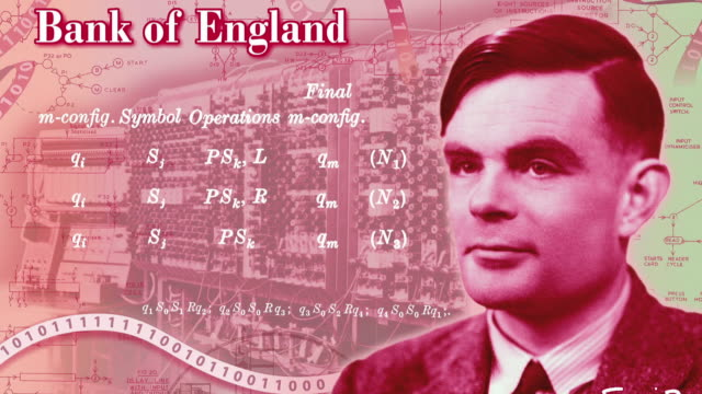 stockvideo's en b-roll-footage met new face of the bank of england's £50 note is revealed as alan turing. the man considered to be the father of modern computing, alan turing, will be... - alan turing