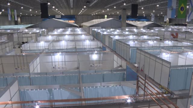 new field hospital with 500 beds, of which 100 will be for intensive care, is ready for use in western rio de janeiro as the country registers over... - latin america stock videos & royalty-free footage