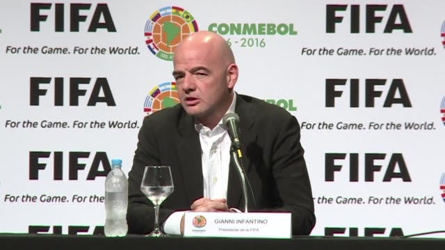 vídeos de stock, filmes e b-roll de new fifa president gianni infantino declares a zero tolerance approach to corruption at a press conference in paraguay - gianni infantino