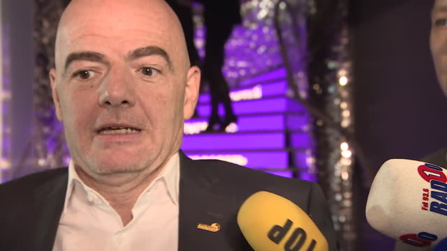 vídeos de stock, filmes e b-roll de new fifa president gianni infantino talking about opening the new world football museum in zurich - gianni infantino