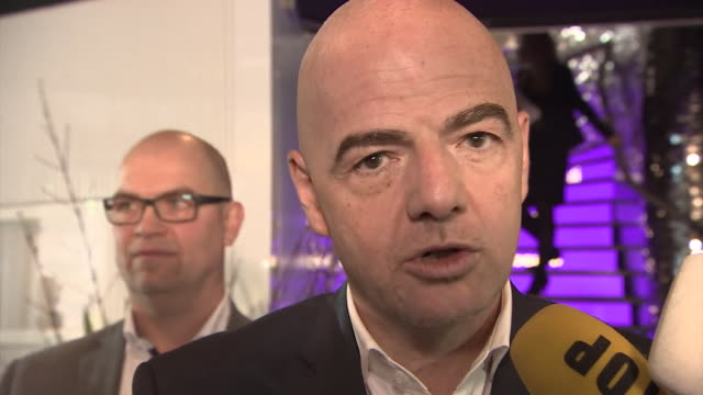vídeos de stock, filmes e b-roll de new fifa president gianni infantino talking about what will happen on his first day in office and that he plans to implement the reforms immediately - gianni infantino
