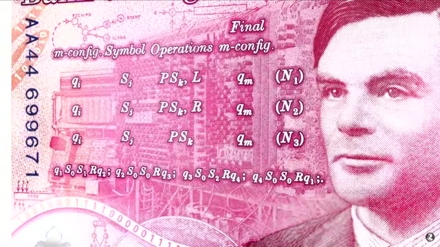 of new fifty pound bank note featuring computer pioneer alan turing - alan turing stock videos & royalty-free footage
