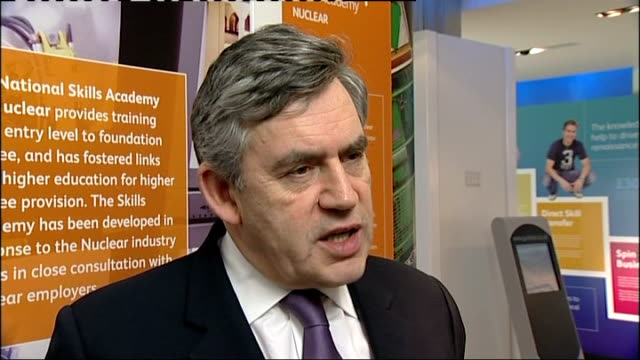 new figures confirm recession fears england cumbria sellafield nuclear power station int gordon brown mp interview sot my responsibility to take... - recession stock videos & royalty-free footage