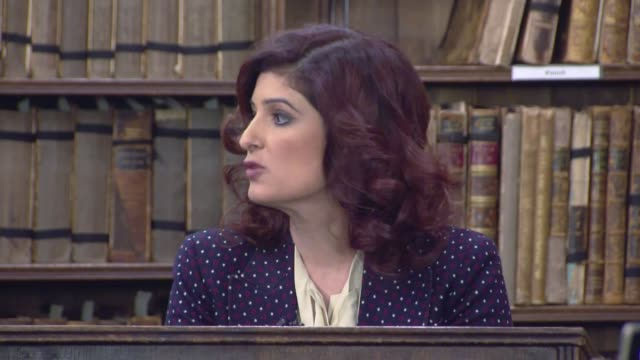 New film aims to tackle period stigma for Indian women ENGLAND Oxfordshire Oxford PHOTOGRAPHY*** Twinkle Khanna addressing Oxford Union and chatting...
