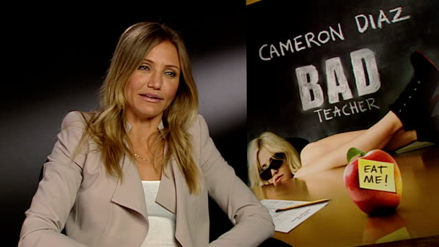 new film 'bad teacher' cameron diaz interview england london int cameron diaz interview sot - cameron diaz stock videos & royalty-free footage