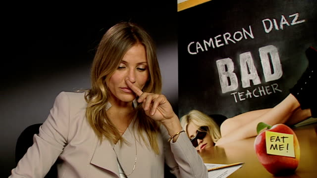 New film 'Bad Teacher' Cameron Diaz interview ENGLAND London INT Cameron Diaz interview SOT on the film amazing cast comedy professionals/ on naughty...