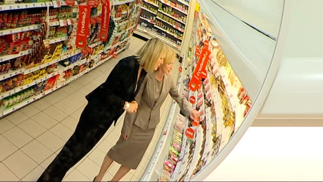 new food labelling system to be introduced to encourage healthy eating scotland glasgow view from inside supermarket trolley as pushed around... - labelling stock videos & royalty-free footage