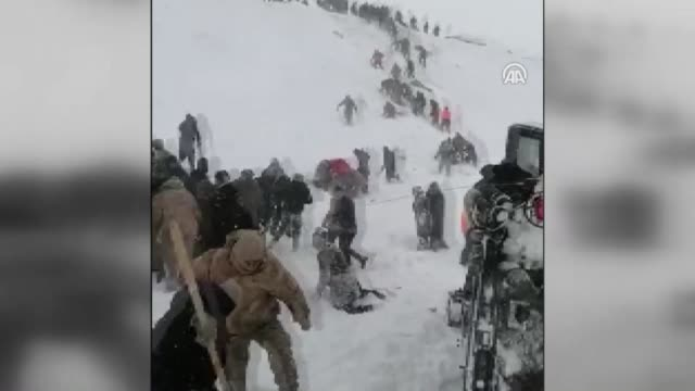new footage shows efforts of rescue teams and civilians after a second avalanche hit eastern turkey and killed dozens of people the death toll rose... - mountain stock videos & royalty-free footage