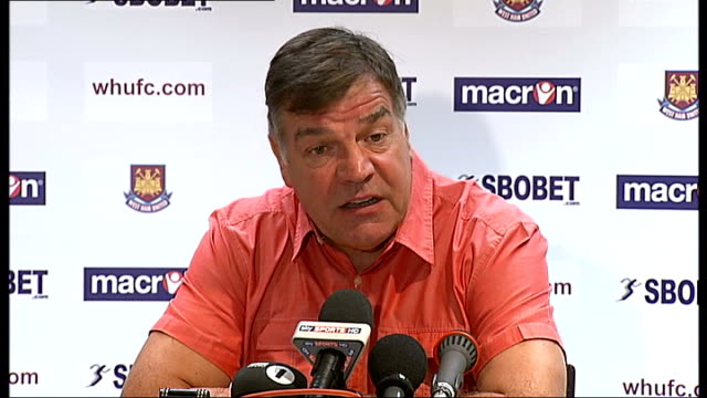 new football league season kicks off this weekend; england: london: upton park: int sam allardyce press conference sot - talks of the team being good... - sam west stock videos & royalty-free footage