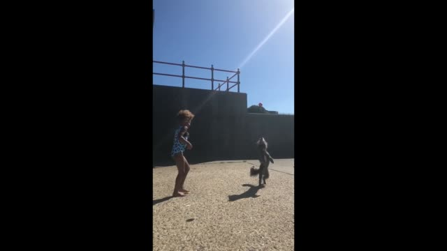 new friends amelia and jeanie play next to the beach on a sunny day in kent uk amelia is a gymnastics fan jeanie loves showing off her dog tricks... - fan enthusiast stock videos & royalty-free footage
