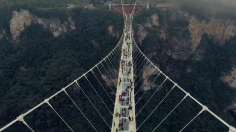 nya glas bridge i hunan kina - hängbro bildbanksvideor och videomaterial från bakom kulisserna