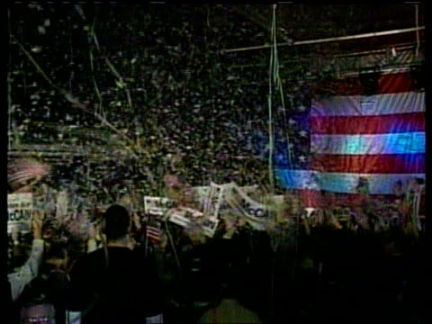 new hampshire int ms john mccain on podium beside wife following victory in new hampshire primary election as streamers falling through air lbv... - presidential election stock videos and b-roll footage