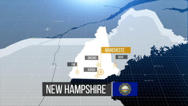 New hampshire map with label then with out label