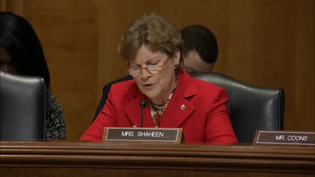 New Hampshire Senator Jeanne Shaheen asks Secretary of State Mike Pompeo at a Senate Foreign Relations Committee hearing if he had spoken with the...