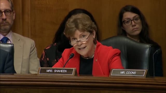 New Hampshire Senator Jeanne Shaheen questions Secretary of State Mike Pompeo at a Senate Foreign Relations Committee hearing about Russian...