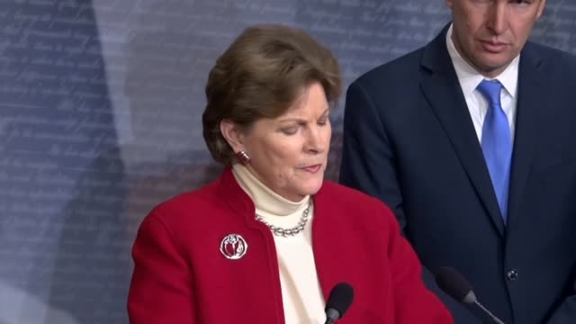 new hampshire senator jeanne shaheen says at a news conference after a successful procedural vote on a war powers resolution regarding yemen that... - united states congress stock videos & royalty-free footage