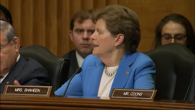 new hampshire senator jeanne shaheen says that she is concerned over rex tillerson nominated for secretary of state not having a public record of... - exxon stock videos & royalty-free footage