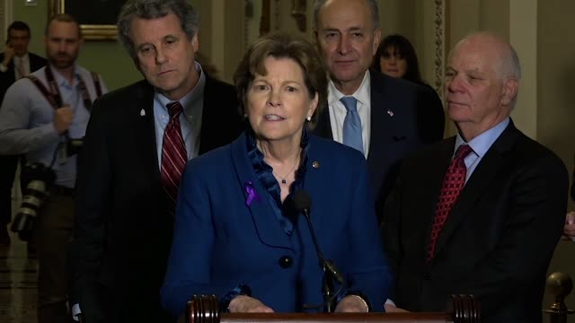 New Hampshire Senator Jeanne Shaheen tells reporters hours before the 2018 State of the Union that Russia was stepping up cyber attacks and military...