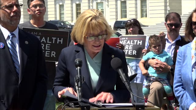 vídeos de stock e filmes b-roll de new hampshire senator maggie hassan says at a press conference on health care that the reality for many americans is that protections for preexisting... - condição