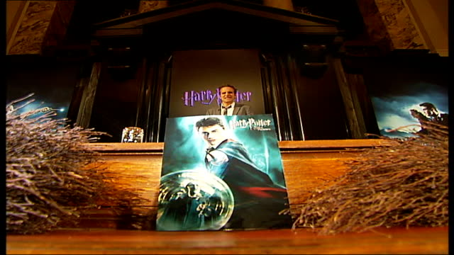 stockvideo's en b-roll-footage met london county hall int reporter to camera in front of a large poster advertising 'harry potter and the order of the phoenix' - harry potter naam kunstwerk