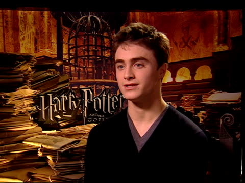 new harry potter film 'the goblet of fire' london premiere int daniel radcliffe interview sot what i enjoy doing about those intense scenes is that i... - 2005 stock videos & royalty-free footage