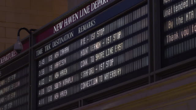 New Haven Line Departure Board in Grand Central Terminal in Manhattan