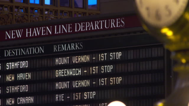 new haven line departures board in grand central terminal in manhattan - western script stock videos & royalty-free footage