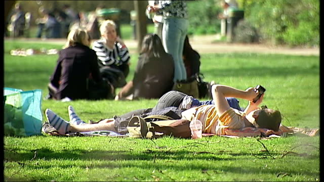 new hayfever treatment promises relief for sufferers t10031415 people laying and siting down in the park in the sunshine - t in the park stock-videos und b-roll-filmmaterial