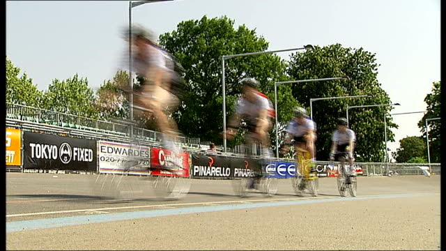 new herne hill velodrome facilities unveiled england london herne hill velodrome ext low angle views group of cyclists on track riding towards and... - herne hill stock videos & royalty-free footage