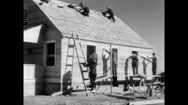 new homes for resettled farmers / healthy crop fields / dust storm / landscape of the great plains showing need for conservation farming resettlement... - 1937 stock videos and b-roll footage
