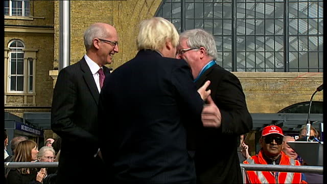 new hs2 boss won't let project become 'political football' king's cross sir david higgins making speech higgins with boris johnson and patrick... - patrick mcloughlin stock videos and b-roll footage