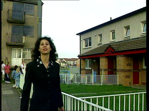 new investment in glasgow's notorious easterhouse estate; itn scotland: glasgow: easterhouse estate: int cms gilles mackinnon intvw sot: - when... - pavement点の映像素材/bロール
