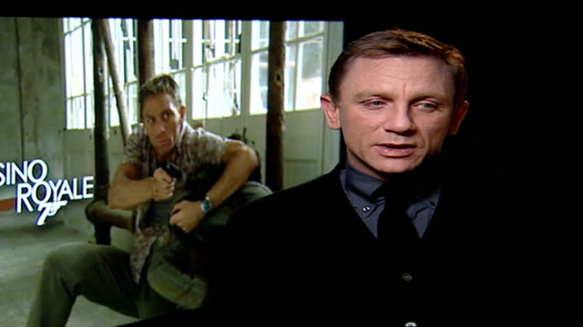 new 'james bond' film opens; daniel craig interview sot - on doing own stunts - james bond fictional character stock videos & royalty-free footage