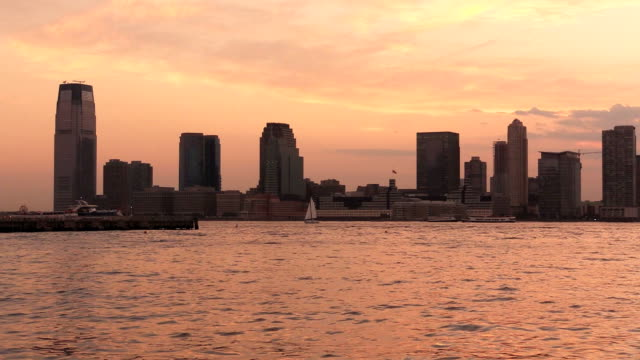 New Jersey City Hudson River Dusk