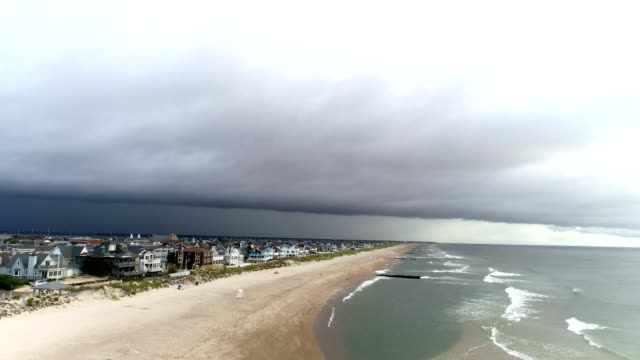 New Jersey coast, storm approaching, aerial