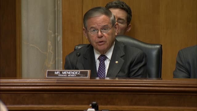 New Jersey Senator Bob Menendez asks Christopher Henzel nominated for US Ambassador to Yemen tells the Senate Foreign Relations Committee about a...