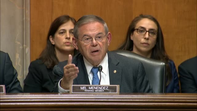 New Jersey Senator Bob Menendez reiterates at the end of a Senate Foreign Relations Committee hearing to Secretary of State Mike Pompeo it was...