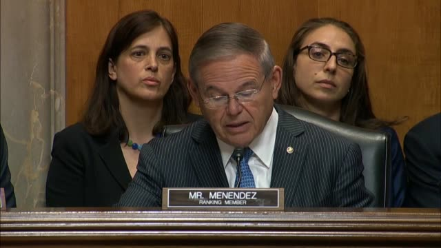 New Jersey Senator Bob Menendez says at a Foreign Relations Committee hearing that President Donald Trump had appeared weak and provided legitimacies...