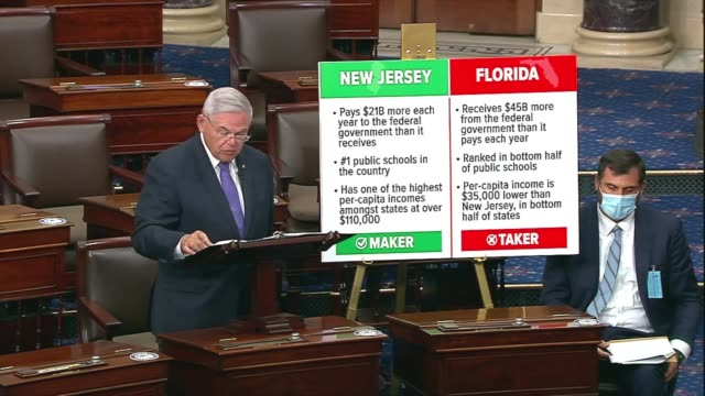 vídeos de stock, filmes e b-roll de new jersey senator bob menendez says in senate floor remarks on providing state and local government budget relief in a comprehensive coronavirus... - florida us state