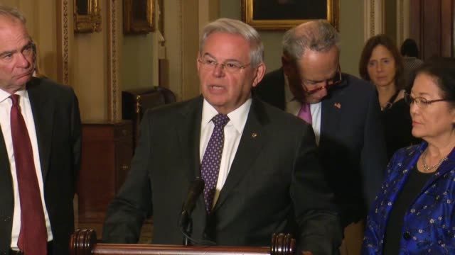 new jersey senator bob menendez tells reporters a weekly news conference that it was incredible to hear president donald trump's first words about a... - outsourcing stock videos & royalty-free footage