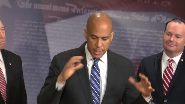 new jersey senator cory booker says at a bipartisan press conference after passage of criminal justice reform called the first step act that the fair... - prison reform stock videos & royalty-free footage