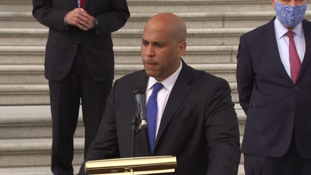 new jersey senator cory booker says at a media event by us capitol steps after boycotting a senate judiciary committee vote on reporting the supreme... - partisan politics stock videos & royalty-free footage