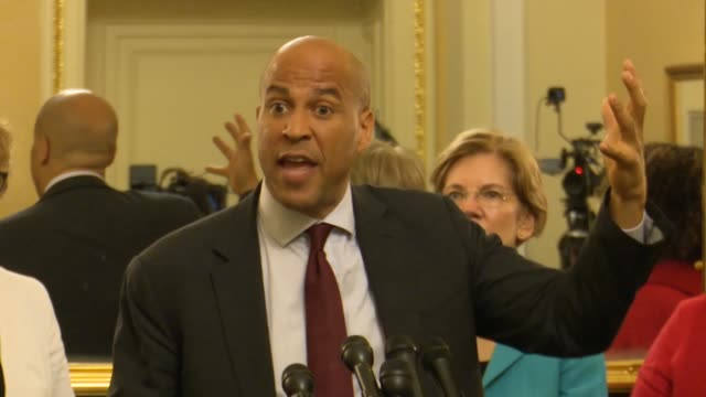 new jersey senator cory booker says at a press conference opposing judge brett kavanaugh for the supreme court that the supreme court had undermined... - brett kavanaugh stock videos and b-roll footage