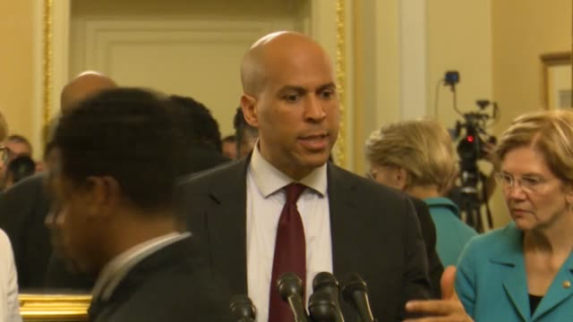 new jersey senator cory booker says at a press conference opposing judge brett kavanaugh for the supreme court that the supreme court nominee... - brett kavanaugh stock videos and b-roll footage