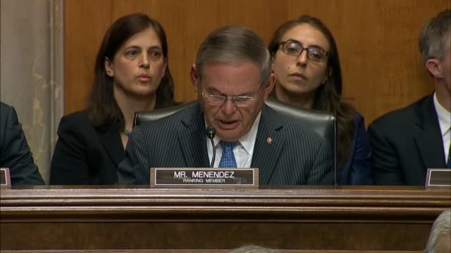 New Jersey Senator Robert Menendez questions Secretary of State Mike Pompeo at a Senate Foreign Relations Committee hearing about North Korea and if...